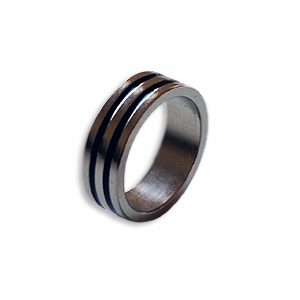 Magnetic Ring  Silver/ Black 20mm - Flat Band
