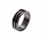 Magnetic Ring  Silver/ Black 19mm - Flat Band